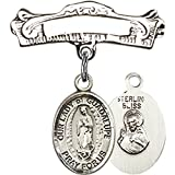 Sterling Silver Baby Badge with Our Lady of Guadalupe Charm and Arched Polished Badge Pin 7/8 X 7/8 inches
