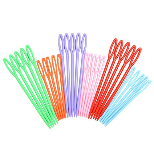 30 Pieces Colorful Large Eye Plastic Sewing Needles for kid Weave Education -