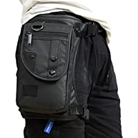 Xieben Men Waterproof Oxford Leg Bag Tactical Military Motorcycle Riding Travel Hiking Thigh Drop Waist Pack, Black