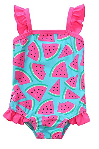 CharmLeaks Infant Girls Watermelon One Piece Swimsuits Ruffle Kids Girls Toddler Swimwear 18-24M -