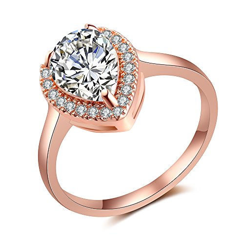 dnswez Rose Gold Teardrop Pear Cut CZ Cubic Zirconia Promise Wedding Band Engagement - Pearl Rings Promise