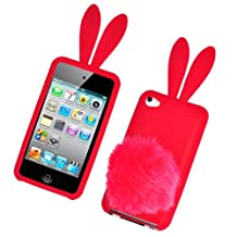 Bastex Bunny Skin Case With Furry Tail for Apple iPod Touch 4th Generation, Red