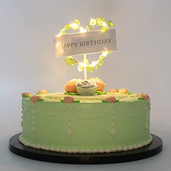 Amazon.com: LVEUD Happy Birthday LED lights Heart shape cake topper ...