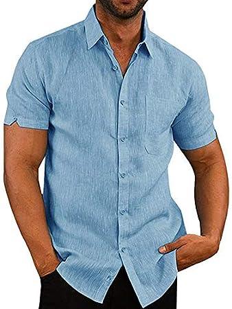 iSunday Hombre Camisa Entallada Manga Corta Liso Casual Trabajo Botón Abajo Camisa Top - Azul, Medium: Amazon.es: Hogar