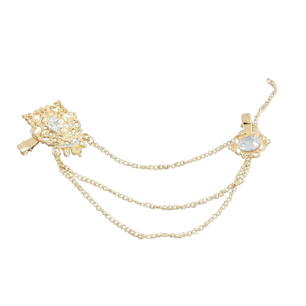 Accesorios del pelo de las mujere, Pinzas de cocodrilo con Flor de la aleacion con Rhinestone, con borlas de la cadena del hierro, oro, 170mm PandaHall OHAR-R150-14