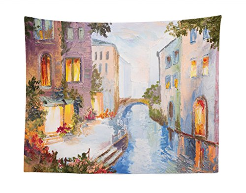 - Lunarable Venice Tapestry, Historical City Vintage Houses Water Canal Venice Italy Oil Painting, Fabric Wall Hanging Decor for Bedroom Living Room Dorm, 28