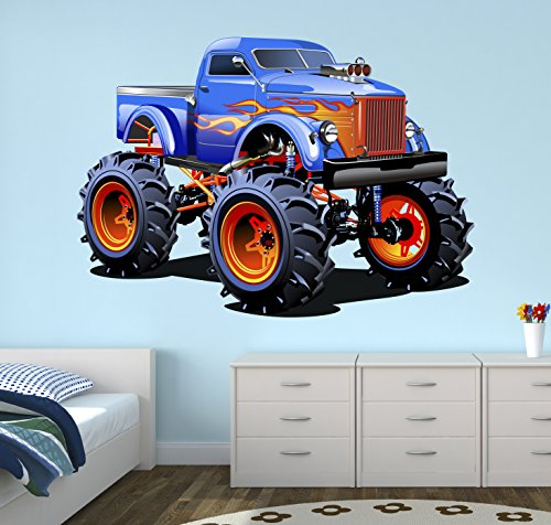(West Mountain Super Monster Truck Wall Decal Nursery Art Kids Bedroom Decor Vinyl Playroom Sticker Mural WM05 (24''W x 20''H))