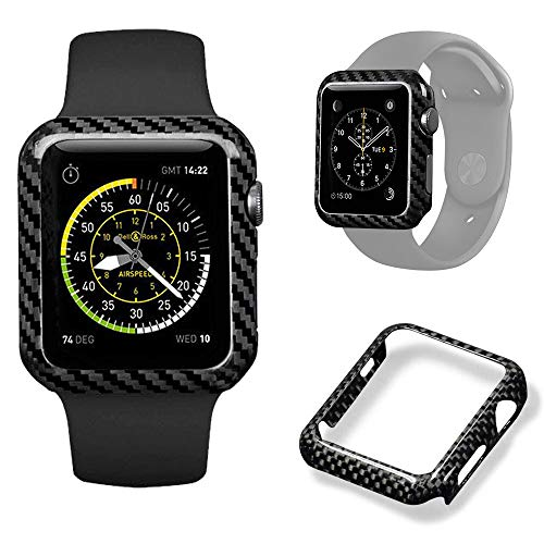 Authentic Carbon Fiber Watch Case for Apple Watch Series 2/3,Durable Shockproof iWatch case High-Gloss/Twill Weave Finis (42mm)