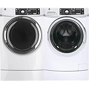 GE White Front Load Laundry Pair with GFW490RSKWW 28' Washer and GFD49ERSKWW 28' Electric Dryer