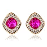 Women & Girls Pink Crystal Clip on Earrings Square Simulated Pearl CZ Ear Studs