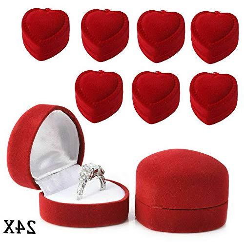 Werrox 24pcs/lot Heart-Shaped Velvet Ring Earring Jewelry Display Box Case Red Gift New | Model JWRLBX - 193