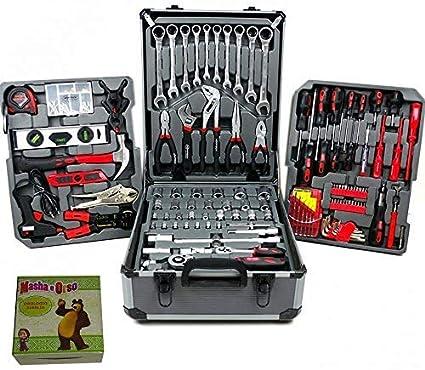 Caja de herramientas de estilo maletín con ruedas, con 187 piezas profesionales: Amazon.es: Bricolaje y herramientas