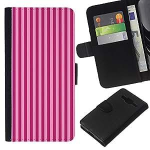 KLONGSHOP // Tirón de la caja Cartera de cuero con ranuras para tarjetas - Patrón de rayas púrpuras Líneas Moda - Samsung Galaxy Core Prime //