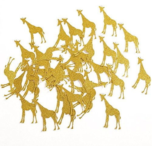 Giraffe Table Confetti for Baby Shower/Child Kids Birthday Animal Party Decorations Favors Supplies (9 Square Table Topper)