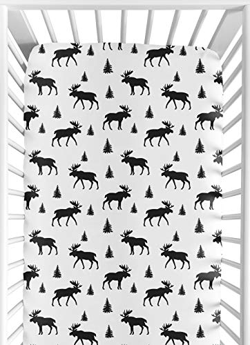 (Sweet Jojo Designs Black and White Woodland Moose Baby or Toddler Fitted Crib Sheet for Rustic Patch Collection)