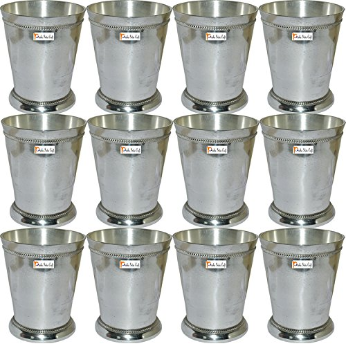 """Set of 12 - Prisha India Craft ® Beaded Silver Mint Julep Cup - 10 oz Beaded 4"""" Tall - Made of brass, nickel plated - CHRISTMAS GIFT ITEM"""