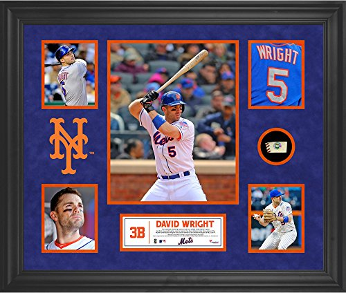 David Wright New York Mets Framed 5-Photo Collage with Piece of Game-Used Ball - MLB Player Plaques and Collages