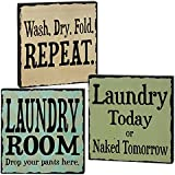 """CWI Gifts Laundry Room Wooden Block Signs (Set of 3), 4"""""""