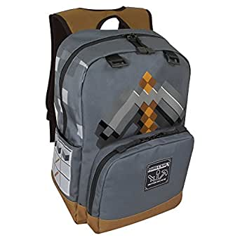 """JINX Minecraft Pickaxe Adventure Kids School Backpack, Dark Grey, 17"""""""