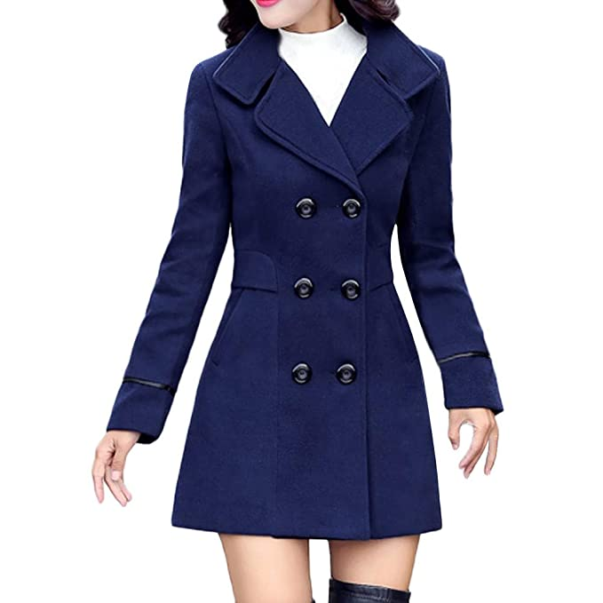 64ac7a40078 POTO Women Coats Ladies Double Breasted Pea Coat Elegant Winter Lapel Wool  Coat Trench Jacket Overcoat