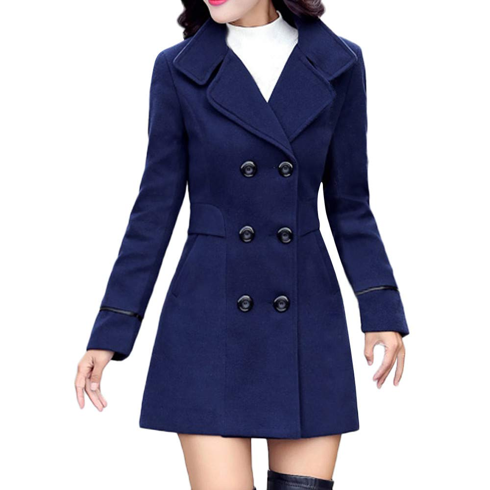 TIMEMEANS Coats for Women Jackets for Women Wool Double Breasted Coat Elegant Long Sleeve Work Office Fashion Jacket
