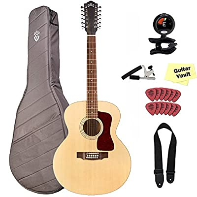 Guild F-2512E Westerly Jumbo Acoustic Electric Guitar, Maple Blond with Gig Bag and Accessory PAck