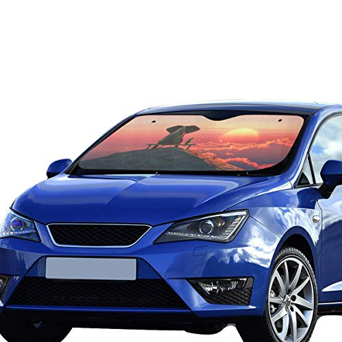 XDCGG Kid Car Window Shade Elephant Dog Sit On Mountain Top 55x30 Inch Anti-uv Coating Protect Seats Foldable Polyester and Aluminized Film Front Car Sunshade Windshield