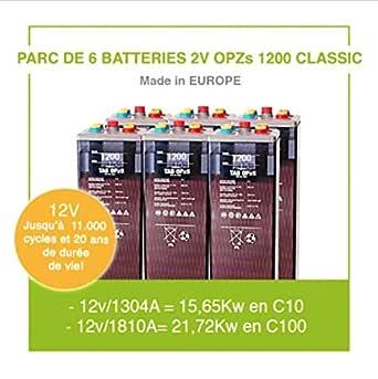 """Parque de 6 baterías de 2 V OPZs 1200""""Classic"""" para instalación autónoma solar y energía eólica, batería de alta gama de hasta 11.000 ciclos y 20 años de vida útil."""