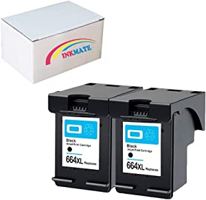 INKMATE Re-Manufactured Ink Cartridge Replacement for HP664 XL for HP DeskJet 1115 1118 2135 2136 2138 3635 3636 3638 4536 4676 (2 Black)