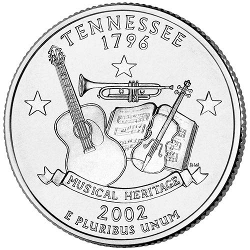 Tennessee State Quarter Coin - 2002 S Silver Proof Tennessee State Quarter Choice Uncirculated US Mint