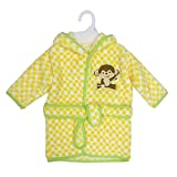 Neat Solutions Extra Soft & Warm Hooded Baby Bathrobe, Happy Monkey, 0-9 Months