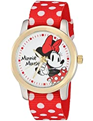 Disney Minnie Mouse  Womens Two Tone Alloy Watch, Reversible Red with White Polka Dot  Nylon Strap, W002882