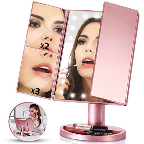 LED Vanity Mirror w/ 1x, 2x, 3x Magnification (Tri-Fold) Makeup and Cost Cosmetics | Touch Screen Power, High-Powered Lights, USB Charging | Portable, Compact