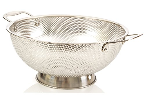 Stainless Steel Large Colander - LiveFresh Stainless Steel Micro-perforated 5-Quart Colander - Professional Strainer with Heavy Duty Handles and Self-draining Solid Ring Base - Dishwasher Safe