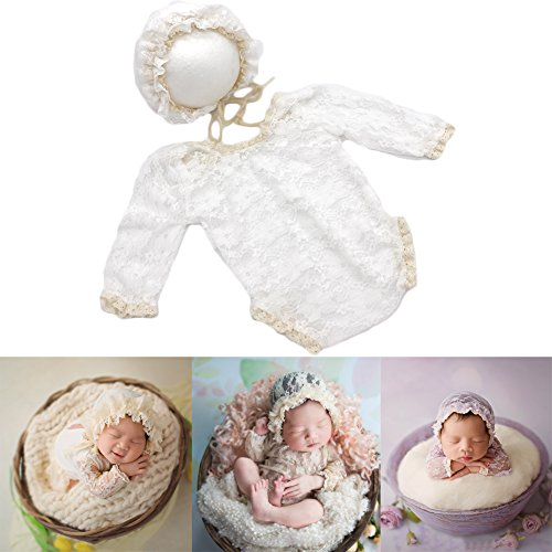 0fb401b8d1aa Baby Photography Props Lace Hats Rompers Newborn Girl Photo Shoot Outfits  Hat Set Infant Princess Costume