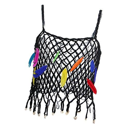 Baosity かぎ針編み スリング 中空 フェザー飾り カラフル パンク セクシー