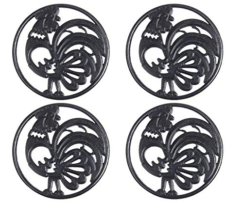 Cast Iron Trivet Set - Round with Charming Rooster Pattern - Trivets Protect Kitchen Surface and Dining Table - 8 Inch Wide with Non-skid Rubber Feet by Upstreet