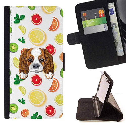 [ Cavalier King Charles Spaniel] Embroidered Cute Dog Puppy Leather Wallet Case for LG Tribute HD/LG X Style/LG Volt 3 [ Juicy Fruit Smoothie Pattern ]