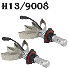H13 9008 LED Headlight Bulbs All-in-One Conversion Kit 8000LM 6000K - 6500K LUXEON ZES Chips Car Headlamp Auto Driving Fog Light for Replace Halogen Bulb Headlights ,1 Yr Warranty