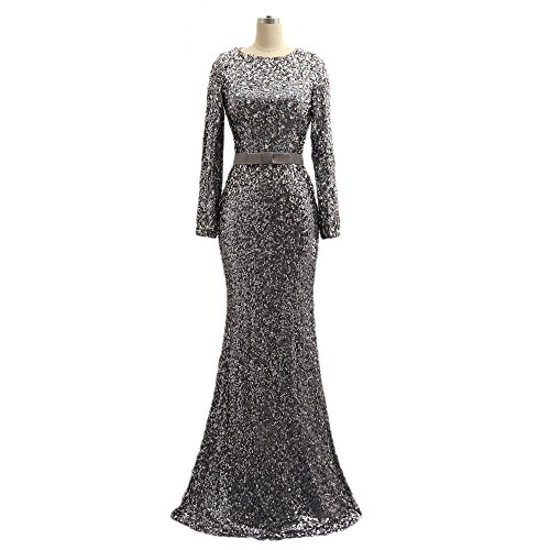 Women's Long Sleeve Beaded Sequin Mermaid Evening Dresses Prom Formal Gowns For Weddings 189 silver-14 by Kaitaijidian