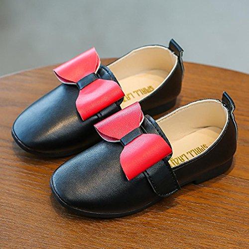 JIANGFU Kinder Baby Mädchen Mode Prinzessin Bowknot Dance Nubukleder Casual Single Schuhe, Prinzessin Bow Schuhe Mädchen Schuhe Schuhe Freizeitschuhe Schwarz
