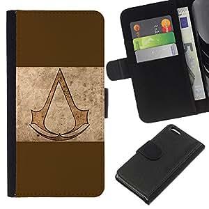 KLONGSHOP // Tirón de la caja Cartera de cuero con ranuras para tarjetas - Asesinos de Brown - Apple Iphone 5C //