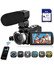 Video Camera Camcorder FHD 1080P 24.0MP Digital Camera YouTube Vlogging Camera 3.0 inch IPS Touch Screen IR Night Vision 16X Digital Zoom with External Microphone, Remote Control and 32GB Memory Card