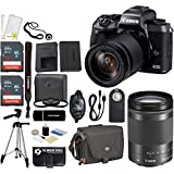 Canon EOS M5 Mirrorless 24.2MP Wi-Fi 1080p HD Video Digital Camera with EF-M 18-150mm IS STM Lens + 2x SanDisk 32GB Cards + Tamrac Case + Tripod + Hand Grip + Filter Kit -- 64GB Accessories Bundle