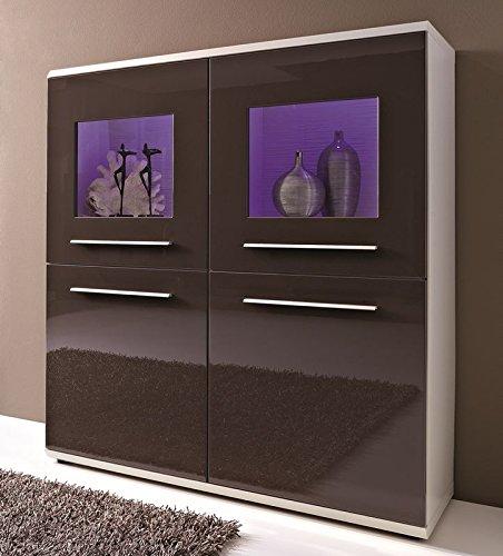 Design Highboard, 2 Vitrinentüren, 2 Holztüren, Korpus Weiß Mattlack - Front Terrabraun Hochglanz mit Zubehör