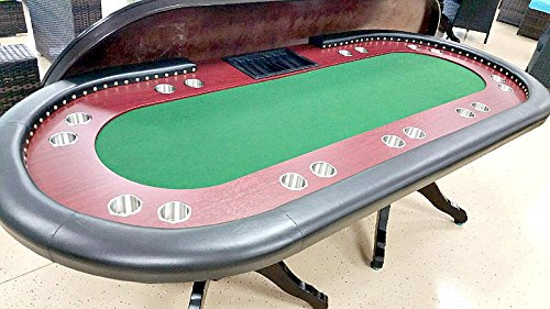 Poker table 94 inch long solid wood 10 player texas holdem for 10 player poker table top