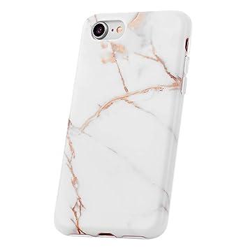 QULT Carcasa para Móvil Compatible con iPhone 8 iPhone 7 Funda marmol Blanco Silicona Flexible Bumper Teléfono Caso para iPhone 7/8 Marble White