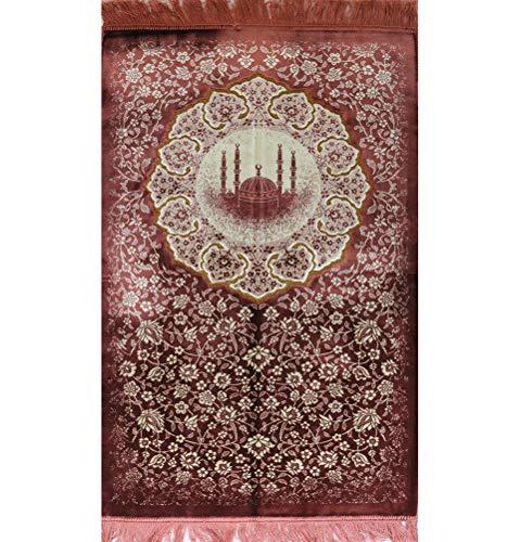- Modefa Islamic Turkish Velvet Prayer Rug Adult Janamaz Namaz Seccade Prayer Mat Carpet Floral Mosque (Pink)