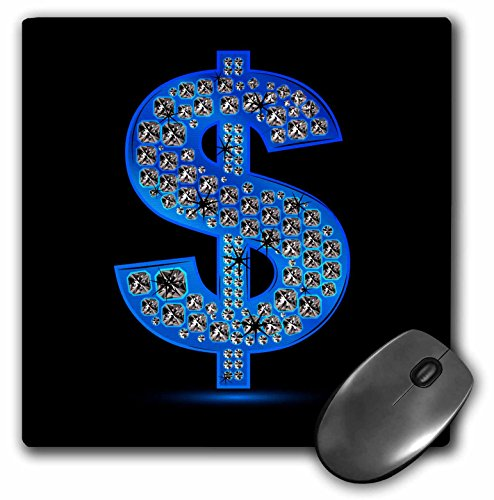 Price comparison product image 3Drose LLC 8 X 8 X 0.25 Inches Mouse Pad,  a Diamond Studded Look Bling Blue Dollar Sign Image (Mp_125859_1)