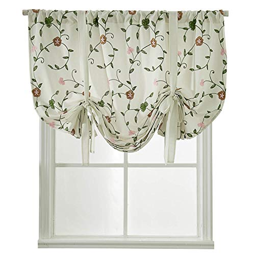 Shade Valance Drape - WUBODTI Embroidered Curtains 63 Inch Length,Floral Embroidery Drapes Tie Up Shades for Small Windows Blackout Room Darkening Thermal Insulated Valance for Bedroom,Living Room,46